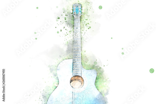 Stampa su Tela Abstract acoustic guitar on green grass on watercolor illustration painting background