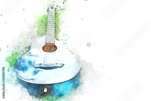 Obraz Abstract acoustic guitar on green grass on watercolor illustration painting background. - fototapety do salonu
