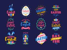 Vector Easter Emblem Set Color...