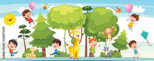 Obraz Vector Illustration Of Kids Nature Concept - fototapety do salonu
