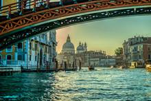 Morning View On Basilica Di Santa Maria Della Salute From Grand Canal In Venice, Italy
