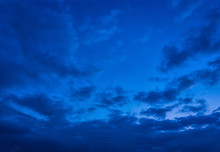 Dramatic Cloudy Sunset Sky Blue Hour Background