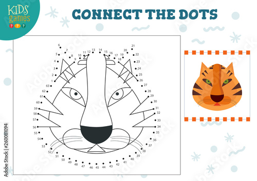 Canvas-taulu Connect the dots kids game vector illustration
