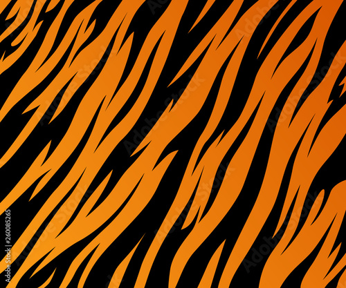 Tiger texture abstract background orange black. Vector jungle strip Fotomurales