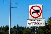 No Trucks Sign Weight Limit 10,000 Gsign