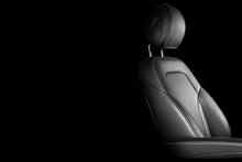 Modern Luxury Car Leather Interior. Part Of Leather Car Seat Details With White Stitching. Interior Of A Car. Comfortable Perforated Leather Seats. Perforated Leather. Car Detailing. Black And White