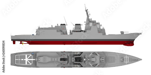 Fotografía warship isolated on white