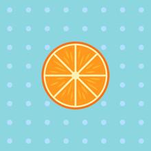 Orange Slice On Blue Background With Dots
