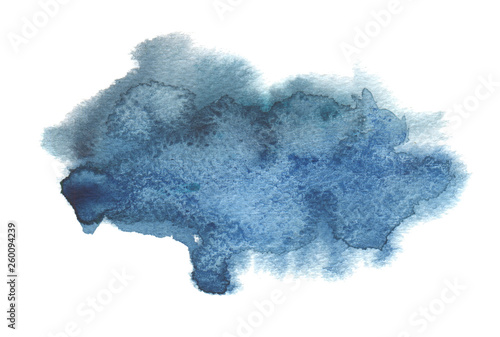 Abstract blue color watercolor and ink blot painted background. Texture paper. Isolated on white.
