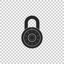 Safe Combination Lock Wheel Icon Isolated On Transparent Background. Combination Padlock. Protection Concept. Password Sign. Flat Design. Vector Illustration