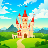 Castle landscape. Palace fairytale kingdom magical towers medieval mansion castles hill forest green mountain cartoon vector creative