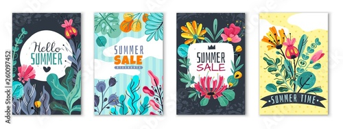Foto auf Acrylglas Weiß Abstract floral posters. Spring summer flower garden banner cover card invitation flyer brochure flowers wallpaper, vector template