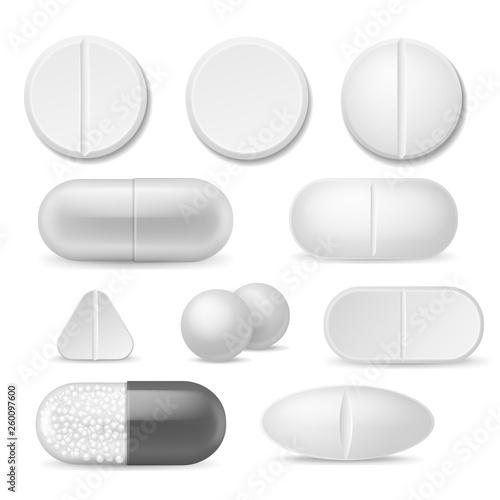 Fototapeta Realistic pills. White medicine tablets. Antibiotic aspirin painkiller drugs, therapy pharmacy healthcare addiction vector icon set obraz na płótnie