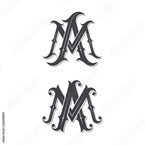 Photo MA vintage monogram logo.