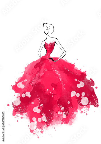Obraz na plátne Watercolor fashion model silhouette
