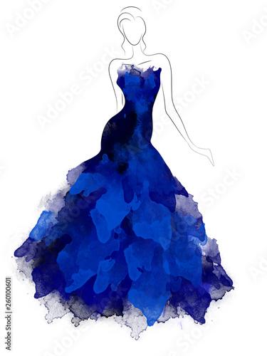 Canvas-taulu Model sketch silhouette in beautiful dark blue dress