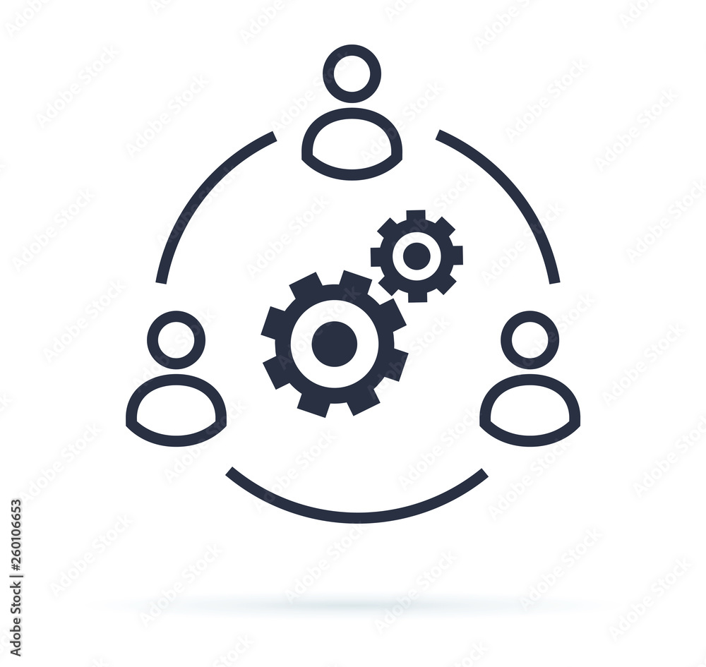 Fototapeta Business collaborate icon vector image. Teamwork Corporation Concept. Conceptual icon of businessteam working cohesively