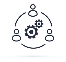 Business Collaborate Icon Vector Image. Teamwork Corporation Concept. Conceptual Icon Of Businessteam Working Cohesively