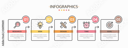 Obraz Infographics design template with 5 options or steps. - fototapety do salonu