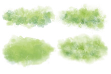 Watercolor Set Of Tropical Texture. Green Vector Backgrounds. Abstract Aquarelle. Colorful Splash On White Backdrop. Beautiful Texture For Your Graphic Design.