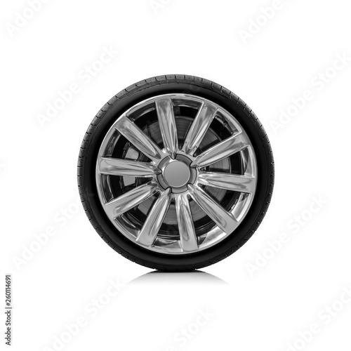 Car wheel isolated on a white background. Fototapet
