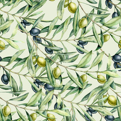 Fototapeta Do baru Watercolor delicate seamless pattern with olives branches. Hand painted olives and leaves isolated on pastel background. Botanical illustration for design, print, fabric or background.