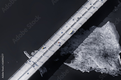 Canvas-taulu Elevated road over sea aerial view