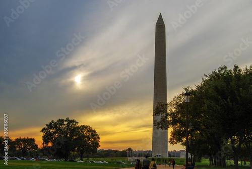 Fototapeta washington monument sunset