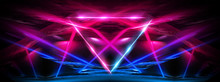 Abstract Blue Background With Lines And Rays Of Neon Light. Reflection In Space Of Symmetry. Abstract Tunnel In Motion.