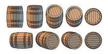 Set Of Wooden Barrels In Different Positions. Front And Side View, At Different Angles Vector Illustrations Isolated On White.