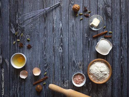 Photo  Baking background with copy space on dark wooden surface for your text