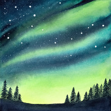 Watercolour Illustration Of Peaceful Serene Spruce Forest Under Colorful Northern Lights And Night Starry Sky. Handdrawn Water Color Gradient Drawing, Backdrop For Creative Design, Print, Wallpaper.