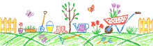 Seamless Border Background Gardening Tools In Garden Or Farm Set. Like Child Hand Drawing Outdoor Copy Space. Crayon Pencil Vector Flower, Watering Can, Shovel, Fence, Cart, Rubber Boots, Plant, Rake