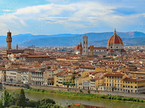 Wall Murals Florence view of Florence in Italy with the dome of the Duomo