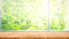 Wood Table Top On Blur Of Window With Garden Flower Background In Morning