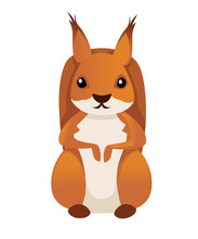 Cute Little Squirrel Sit On Floor. Front View. Cartoon Animal Character Design. Flat Vector Illustration Isolated On White Background