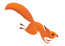 Cute Little Squirrel Jumping Down. Side View. Cartoon Animal Character Design. Flat Vector Illustration Isolated On White Background