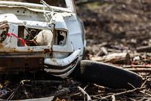 Vandalised Car Lies Abandoned