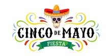 Cinco De Mayo Vector Greeting Card With Scull, Traditional Mexican Hat And Flourish Elements. 5 May Mexican Holiday Colorful Greeting Card. Vector Illustration