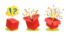 Surprise Box Animation Vector Illustration. Vector Red Box With Coins, Confetti And Ribbons. Sale And Discount Surprise Box For Ui, Web, Print Design Etc. Vector Box Set With Confetti.