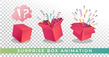 Surprise Box Animation Vector Illustration. Vector Red Box With Confetti And Ribbons. Festive Surprise Box For Ui, Web, Print Design Etc. Vector Box With Confetti.