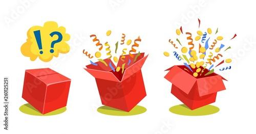Surprise box animation vector illustration Slika na platnu