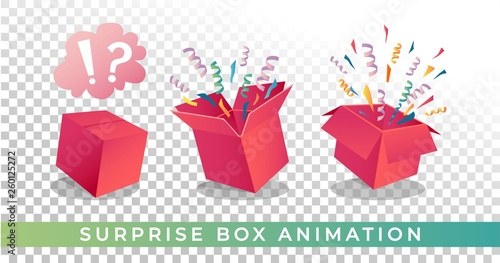 Surprise box animation vector illustration Fototapeta
