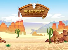 Wild West Seamless Pattern With Mountains And Cacti. Retro Western Background For Games, Ui, Posters Etc. Vector Wild West Illustration