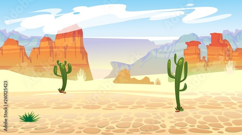 Wild west seamless pattern with mountains and cacti Canvas-taulu