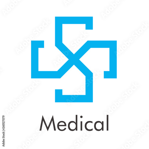 Fotografie, Obraz  Logotipo abstracto con texto Medical con cruz lineal en espacio negativo en colo