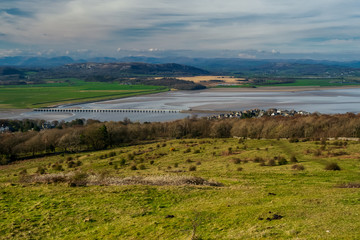 Fototapeta na wymiar A circular walk around Arnside Knott in Lancashire. Arnside Knott is a haven for birds and wildlife with a mixture of Southern and Northern species on the edge of their ranges.