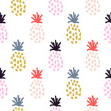 Pineapple summer colorful tropical textile seamless vector print. - 260127447