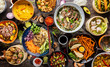 Leinwanddruck Bild - Top view composition of various Asian food in bowl