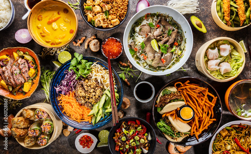 Aluminium Prints Food Top view composition of various Asian food in bowl
